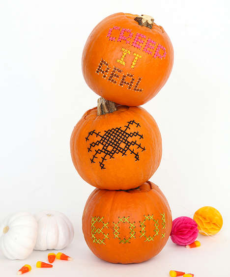 Stitched Pumpkin Designs - This Knitted Art Technique Offers an Alternative to Carving