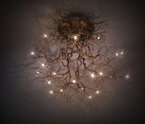 Tree Root Chandeliers - This Illuminated Ceiling Lamp is Inspired by Natural Tree Roots