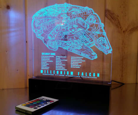 Schematic Spaceship Lamps - This Star Wars Lamp Illuminates the Blueprints for the Millennium Falcon