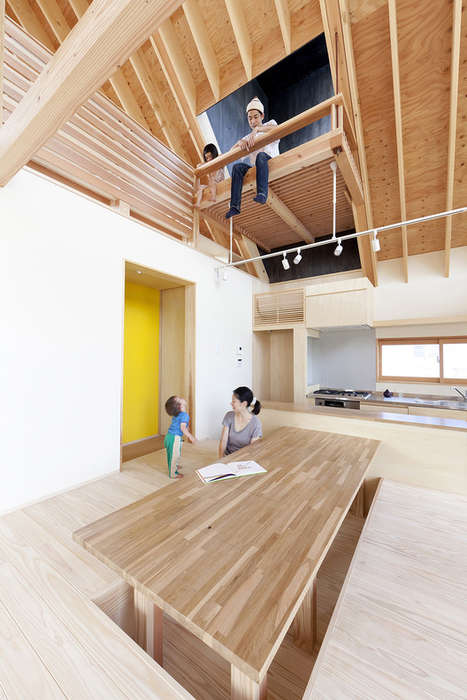 Chimney Lounging Spaces - This Modern Wooden House Has an Enlarged Chimney Space for Hangouts