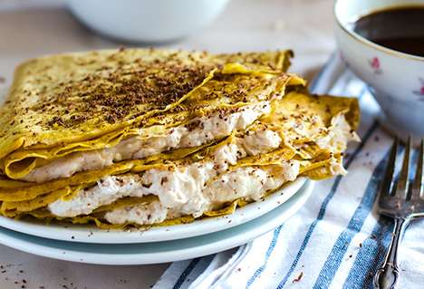Cheesecake Pumpkin Crepes - This Autumnal Pancake Recipe Contains a Spiced Cheesecake Filling