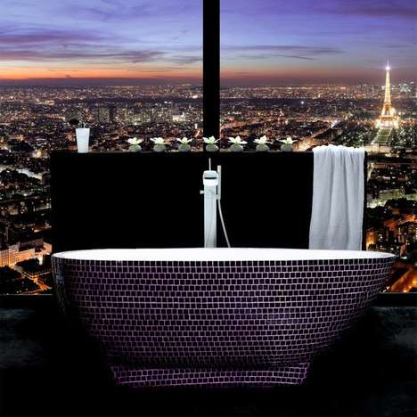 Cinematic Luxe Bathtubs - This Opulent Basin Features a Sleek Black Mosaic Print