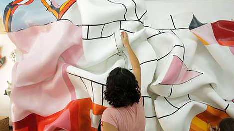 Billowing Silken Artwork - These Art Murals Appear Wind-Swept but are Actually Solid Sculptures