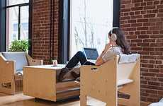 Open-Plan Office Furniture - This Communal Furniture Was Designed for Employees Using Laptops
