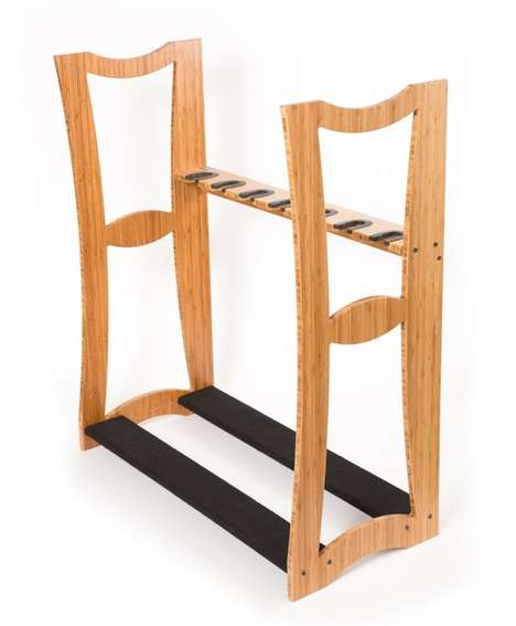 Bamboo Guitar Racks - The DRS Racks Show Off Your Guitars In Your Living Room