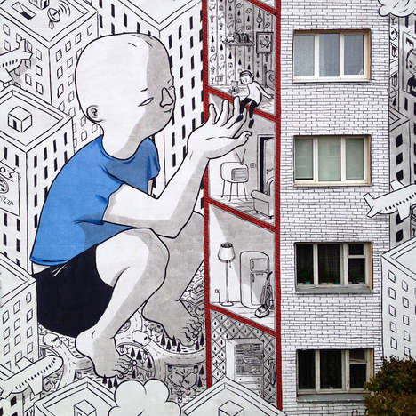 Colossal Character Murals - This Italian Street Artist Made a Story of Sympathy as Tall as a Tower