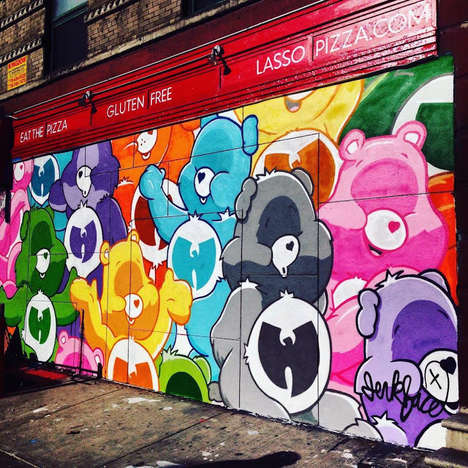 Nostalgic 90s Street Art - This NYC Graffiti is a Mash-Up of the Care Bears and the Wu-Tang Clan