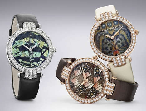 Dazzling Butterfly Watches - The Harry Winston Timepiece Collection Features Diamonds & Satin Bands