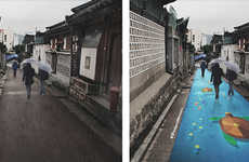 Rain-Revealed Road Murals