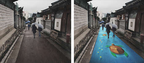 Rain-Revealed Road Murals - The 'Monsoon Project' is a Series of Murals that Appear After Rainfall