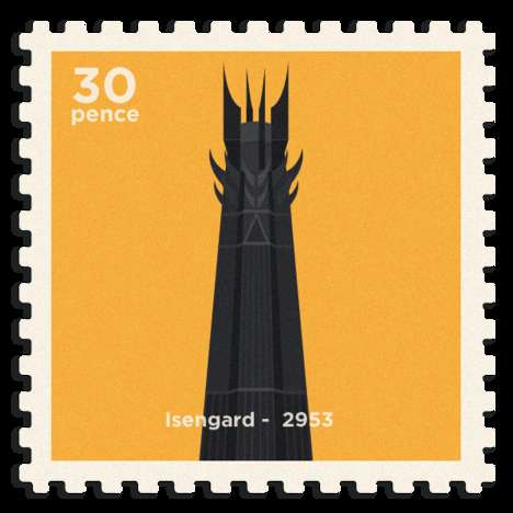 Minimalist Fantasy Stamps - These Middle Earth Art Pieces Imagine Different Fantasy Postage Stamps