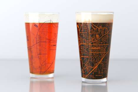 Campus Map Pint Glasses - This College Town Maps Drinkware is Designed for Students and Alumni