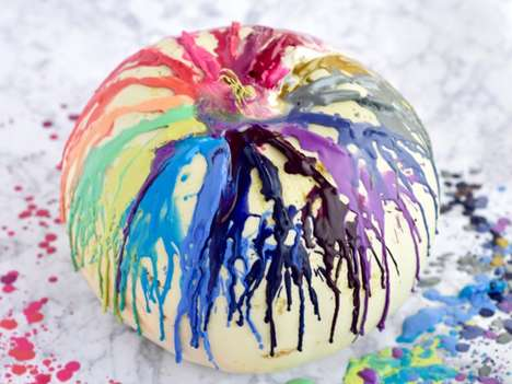 Colorful Wax-Covered Pumpkins - This Colorful Jack-O-Lantern is Decorated with Melted Crayons