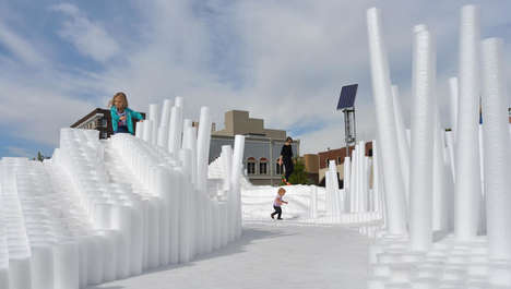 Pool Noodle Installations - This Art Project Features Thousands of Foam Rods in a Rippling Pattern