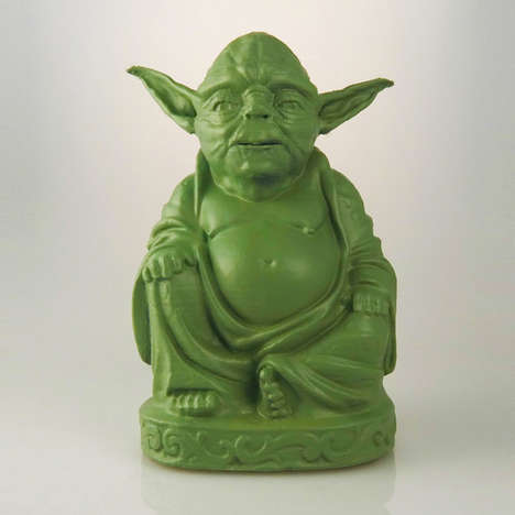 Godly Sci-Fi Statues - These Budda Figurines are Replaced with Heads of Popular Characters