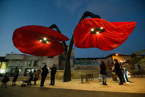 Blooming Flower Canopies - These Massive Flowers Open When Pedestrians Stand Beneath Them