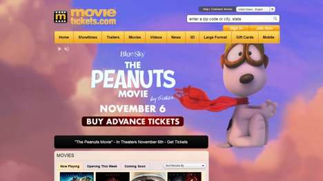 Cartooned Homepage Promotions - Movietickets.com Had a Live Peanuts Movie Video Wall All Day