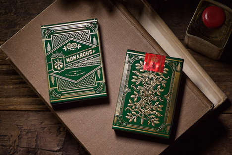 Ornate Playing Cards - This 'Green Monarch' Card Deck is Decorated with Shiny Gold Foil