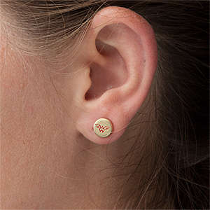 Comic Superhero Jewelry - These Wonder Woman Gold Stud Earrings Feature the Heroine's Symbol