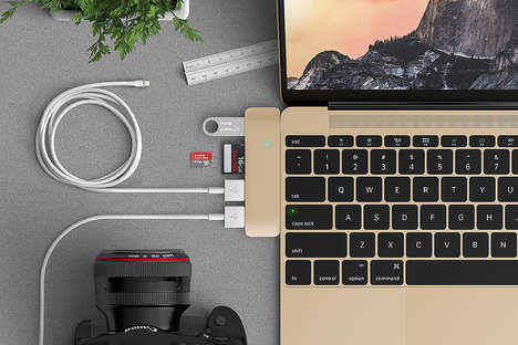 Streamlined USB Adaptors - This Laptop Accessory Seamlessly Blends with Your MacBook