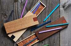 Wooden Pencil Cases - These Handcrafted Cases Pop Open at the Push of a Button