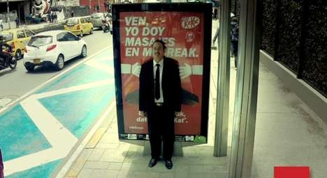Vibrating Massage Billboards - KitKat's Responsive Bus Stop Ads Massage People When Leaned On