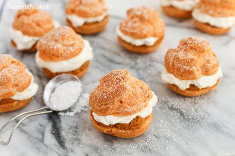 Autumnal Pie Cream Puffs - This Recipe Offers the Pumpkin Pie Dessert in a Lighter Format