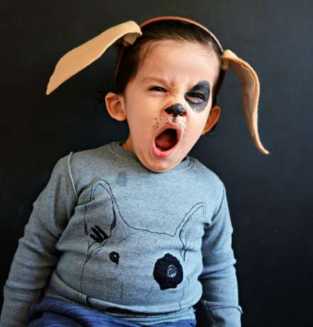 Kiddie Canine Costumes - This Homemade Puppy Outfit Features Face Paint and a Headband
