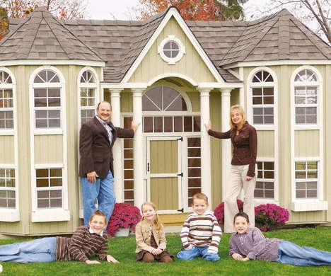 Luxury Backyard Dwellings - The Grand Portico Mansion Playhouse is Designed for Opulent Children