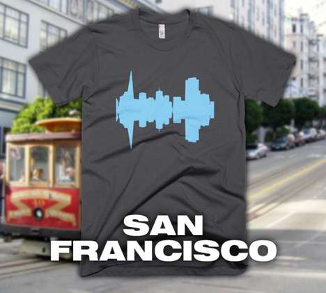 Mirrored Skyline Fashions - These Landylines City Skyline Audio Wave T-Shirts Celebrate Major Cities