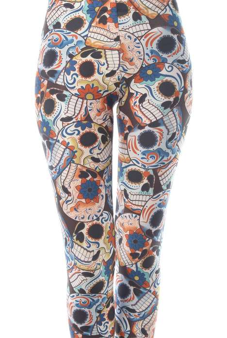Festive Sugar Skull Leggings - These Colorful Pants Celebrate the Day of the Dead