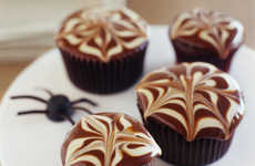 Creepy Crawler Cupcakes - These Decorative Spider Mini Cakes Feature Chocolate Cobwebs