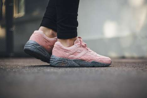 Feminine Bubblegum Sneakers - The PUMA R698 Shoes are Reminiscent of Chewing Gum