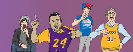 Fan Archetype Illustrations - These Images Represent Five Different Types of Los Angeles Lakers Fans