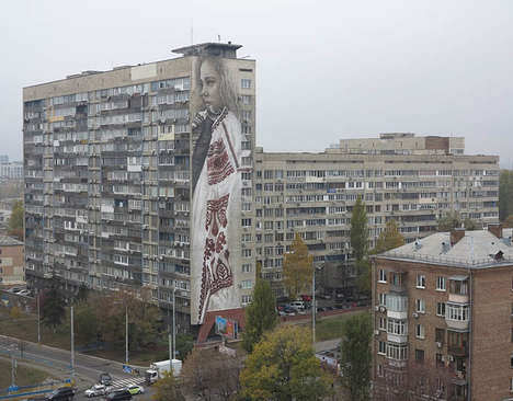 Giant Photographic Murals - This International Street Art Depicts a Captivating Realistic Portrait