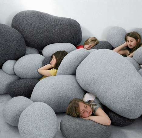 Realistic Rock Pillows - These Decorative Novelty Pillows Resemble Smooth and Natural Rocks