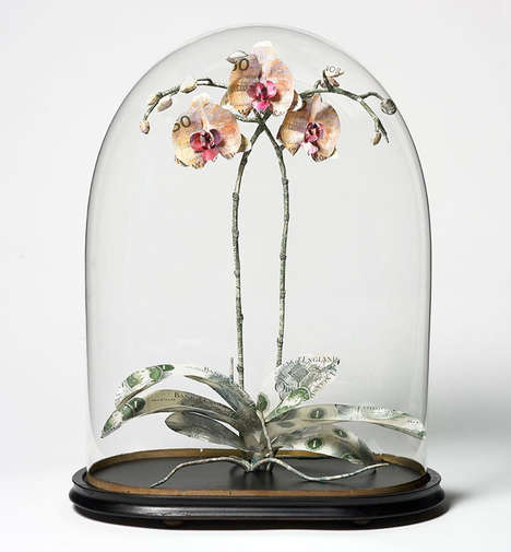 Floral Currency Sculptures - These Sculptures Recreate Victorian Museum Displays with Shredded Money