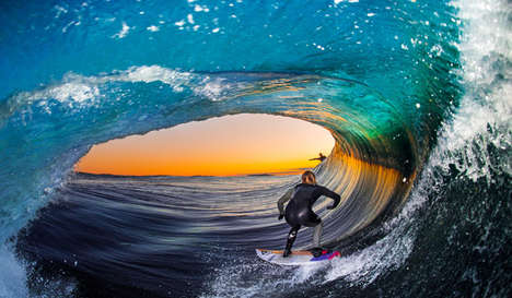 Barrel Wave Surf Photography - Leroy Bellet's Surfing Photos are Shot While Riding a Board Himself