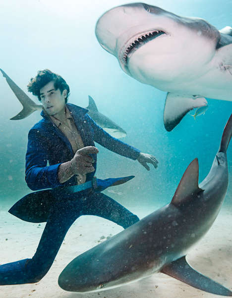 Shark Bait Menswear Editorials - Fred Szkoda Keeps His Composure While Swimming With Sharks