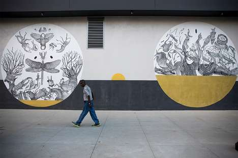 Intricate Linear Murals - Street Artist 2501 Completed a Striking Mural Project in Los Angeles
