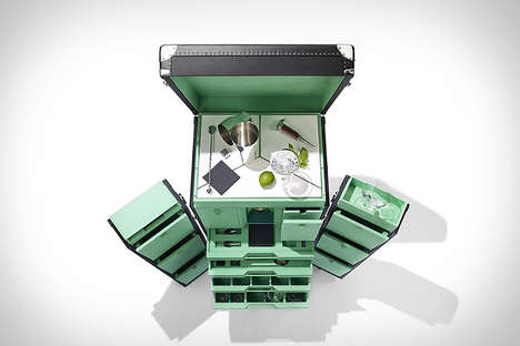 Extensive Traveling Mojito Bars - The T.T. Mojito Trunk is a Portable Bar with Built-In Work Space