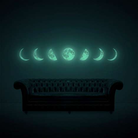 Glowing Lunar Decals - This Moon Phase Wall Sticker is a Dramatically Beautiful Finishing Touch