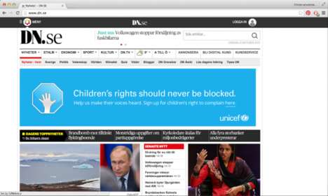 Anti Ad-Blocking Campaigns - UNICEFs Banners Liken Online Ad Blocking to Ignoring Children's Rights