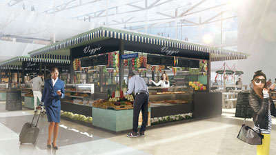 Airport Shopping Markets - This Conceptual Airport Market Focuses on Experiential Dining