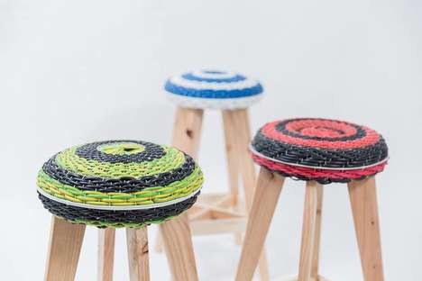 Upcycled Wooden Stools - These Stylish Stools are Made Out of Old Ventilator Fans and Scrap Wire