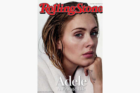 Recluse Songstress Covers - Singer Adele Poses Bare Faced for Rolling Stone Magazine