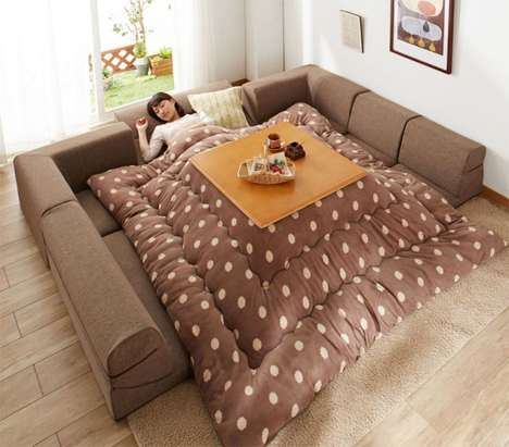Convertible Floor Couches - This Japanese Kotatsu Sofa Design Offers Multiple Layout Arrangements