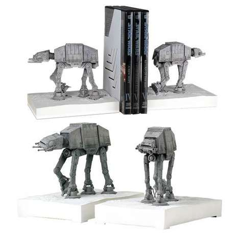 Celestial Weaponry Bookends - These Star Wars AT-AT Statues Hold DVD and Book Collections in Place