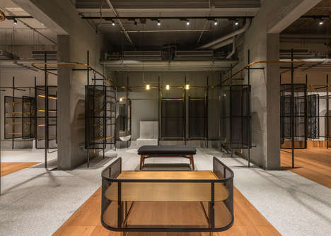 Cage-Like Store Interiors - This Flagship Store Features a Continuous Clothing Rail Throughout