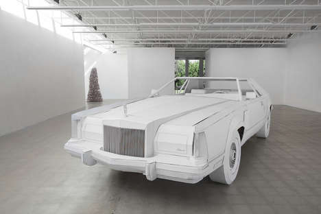 Cardboard Car Sculptures - This Sculpture Creates the Look of a 1979 Lincoln Continental Mark V